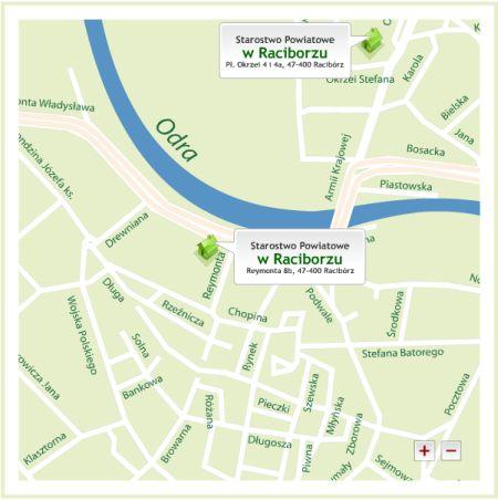 Mapa Raciborza z lokalizacjami placówek Starostwa